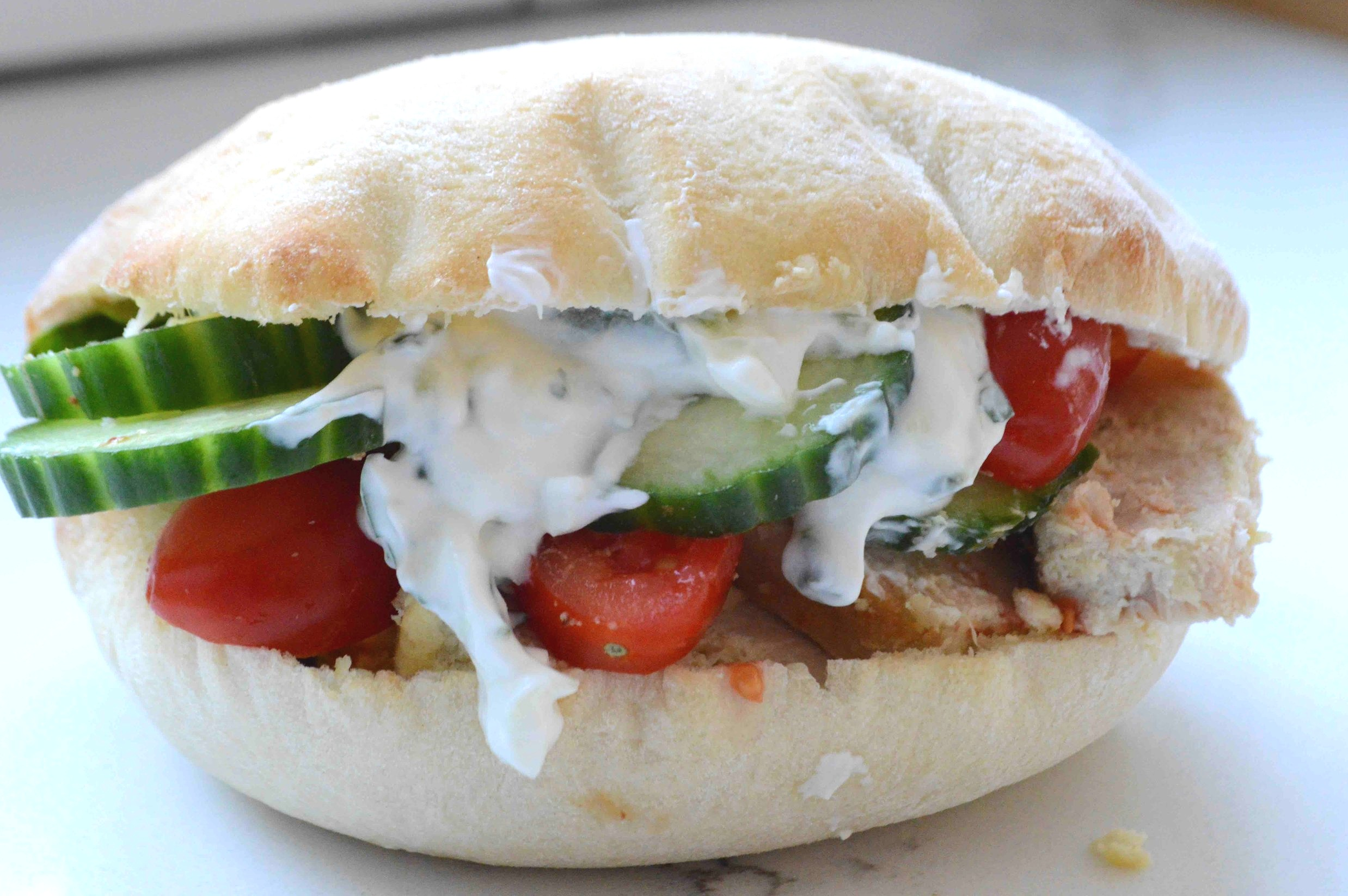 Greek+Chicken+Pita+Pockets+with+Homemade+Tzatziki
