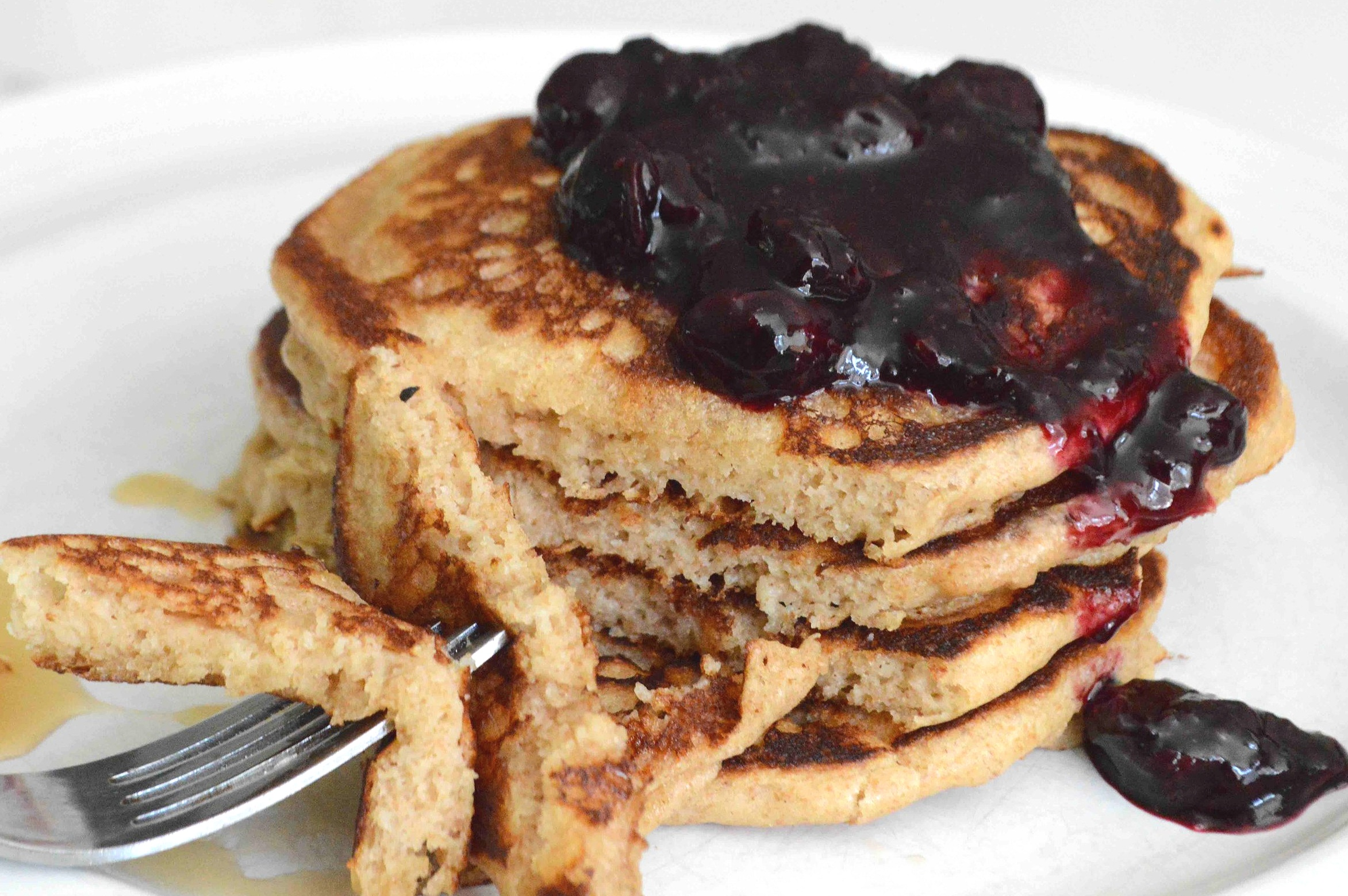 Whole+Wheat+Pancakes+with+Roasted+Blueberry+Sauce
