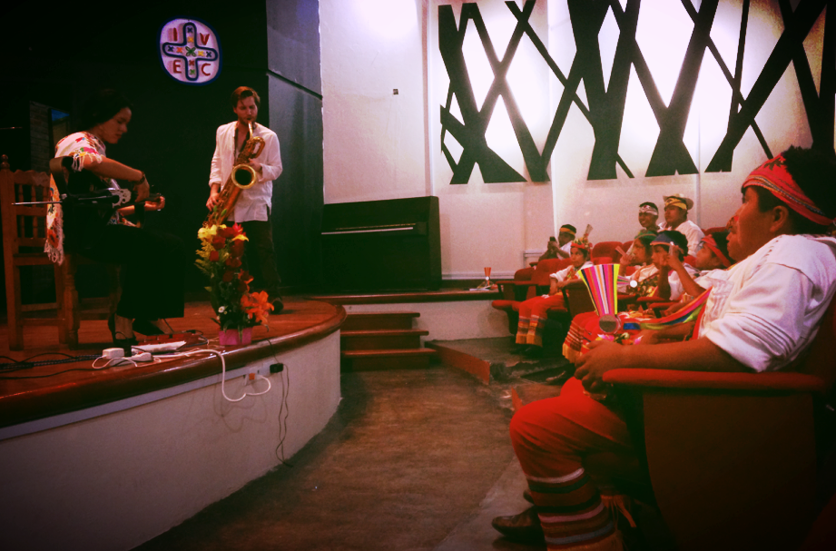 Ben Barson and Gizelxanath at the Centro Cultural Tedoro Cano, Papantla, Mexico, performing for members of the Totonac people.