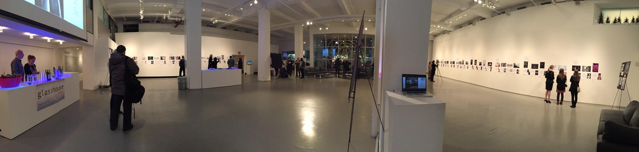 Before the doors opened for the event, this is the large space our work was displayed in. The room was entirely filled with other artists and guests by the end of the night.  (photo by Amy Schonauer)
