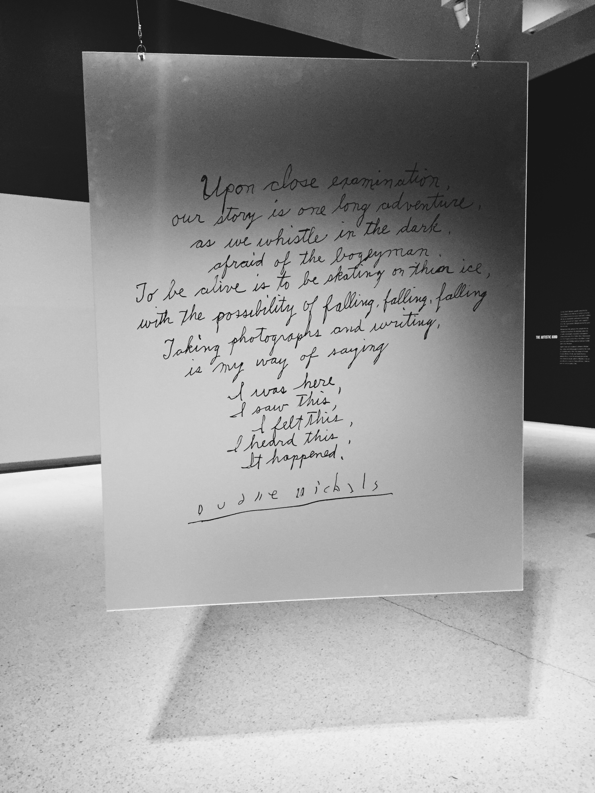 Quote from Duane Michals at The Carnegie Museum of Art