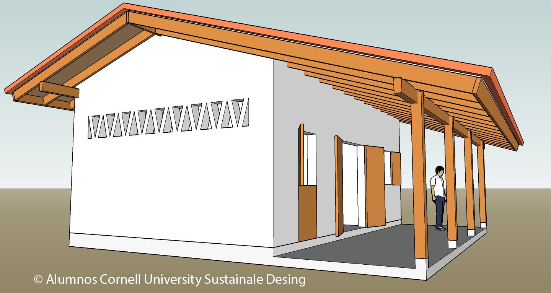 Vista lateral/frente. Diseño arquitectónico elaborado poralumnos CUSD