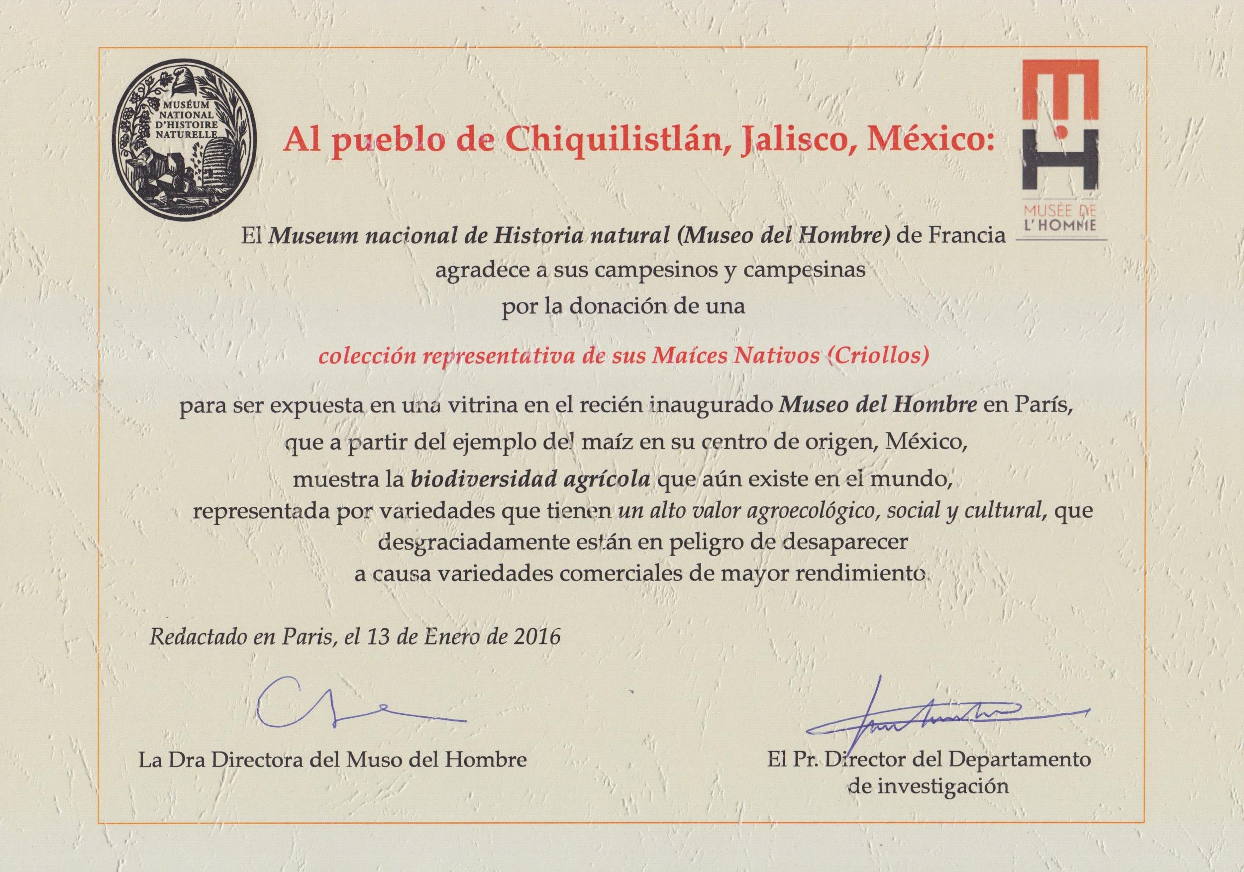 Agradecimiento del Museo del Hombre al Pueblo de Chiquilistlán, por la donación de sus maíces nativos para la exposción.
