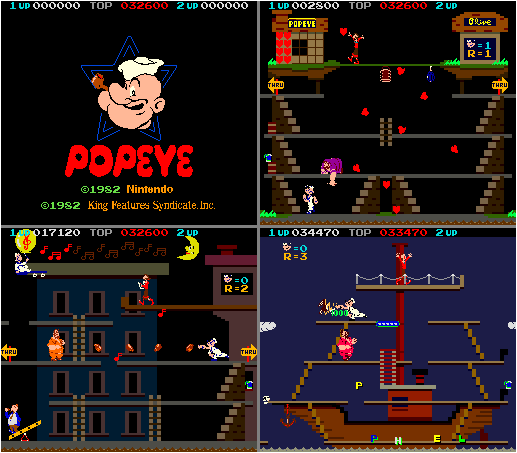 When Nintendo  was  able to get the rights to Popeye in 1982, they published a licensed game after all. In fact, they even made  a sequel edutainment game for the Famicom in which Popeye teaches English ! You couldn't make this stuff up.
