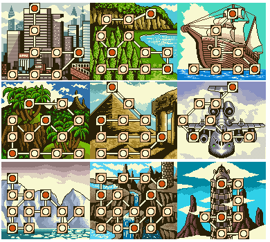 Donkey Kong's nine worlds, with Super Game Boy coloration.