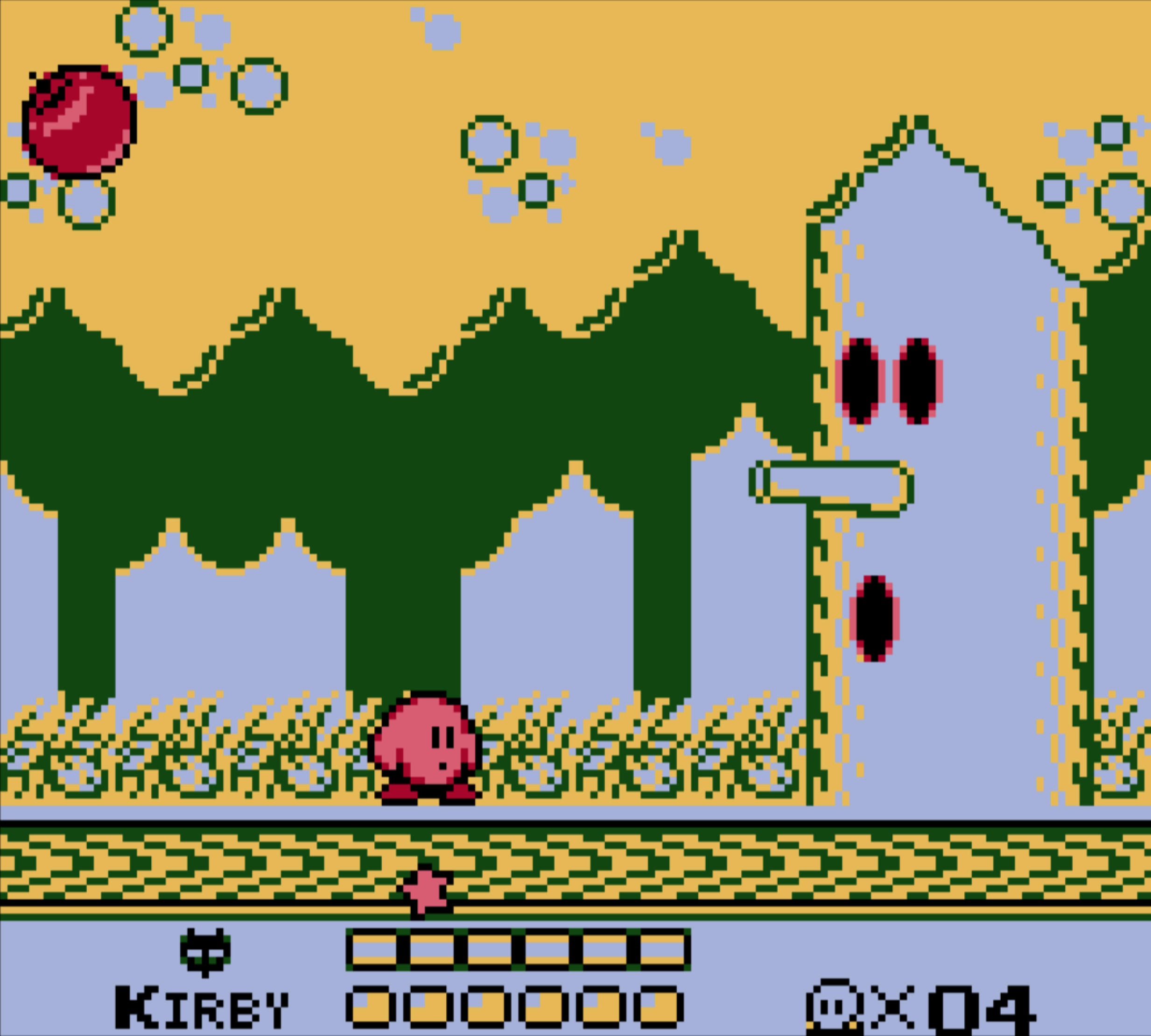 Ever the environmentalist, Kirby prepares to kill this tree.