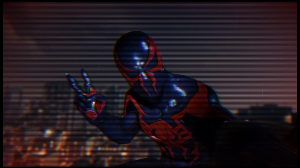 The VHS filter felt somehow appropriate for Spider-Man 2099.