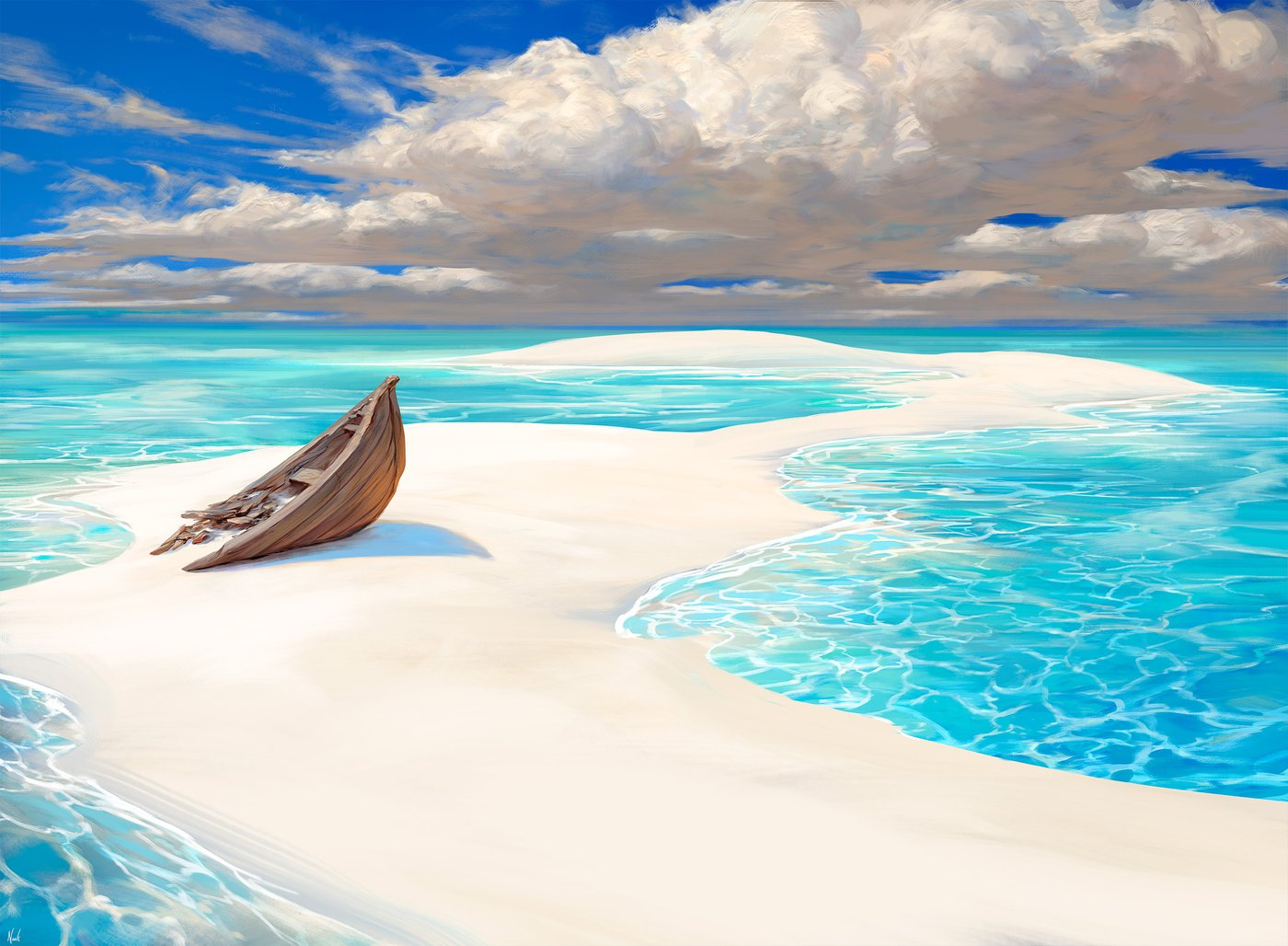 """Lonely Sandbar"" by Noah Bradley, 2019"