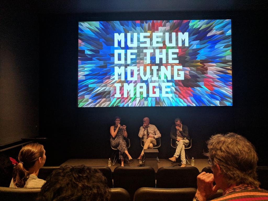 Producers Hal Scardino and Sara Maamouri with Dale Buscher at the Museum of the Moving Image