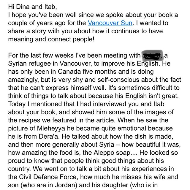 We received this email yesterday..... #icanteven #Syria #recipesfromhome #migration #foodmatters #canada