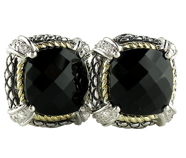 18kt and Sterling Silver Cushion Black Onyx Diamond Omega Clip Earrings ACE07/20-ON