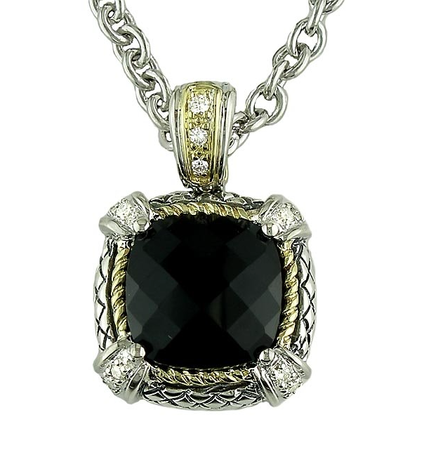 Click to enlarge 18kt and Sterling Silver Cushion Black Onyx and Diamond Pendant with Chain ACP07/15-ON