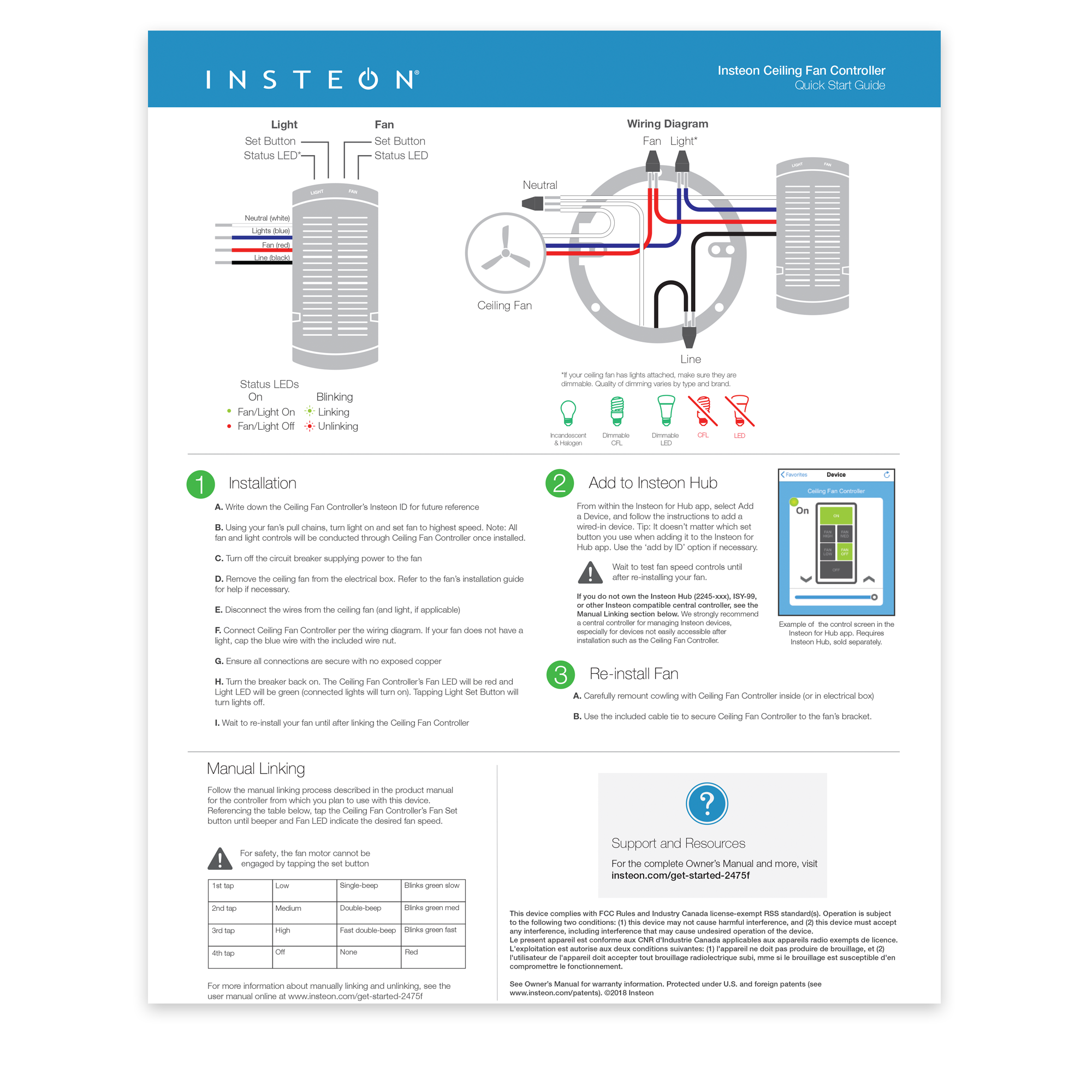 insteon fan controller quick start guide