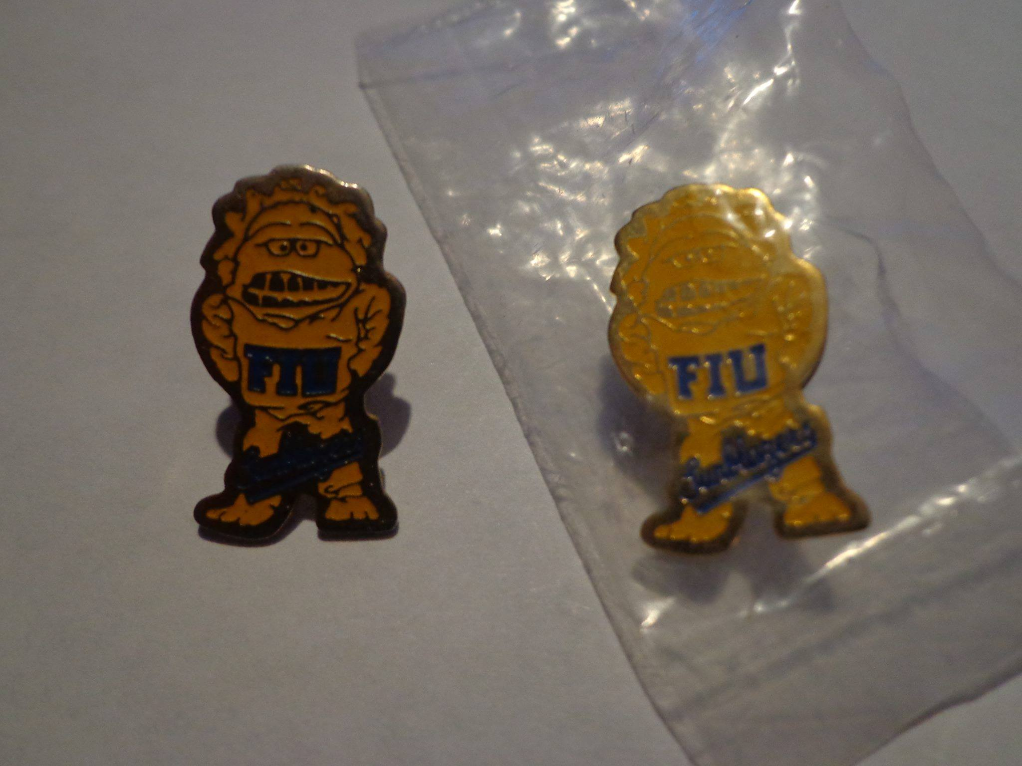 This was a message sent to us on our Facebook by an alumnus. We posted a photo of our old mascot, the Sunblazer, and he revealed to us that he had some old Sunblazer pins. He shared this photo with us.