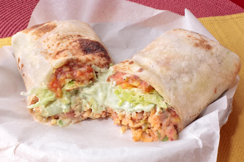 Veggie Grande Burrito: Rice, Beans, Cheese, Guacamole, Lettuce, and Mild Fresh Salsa