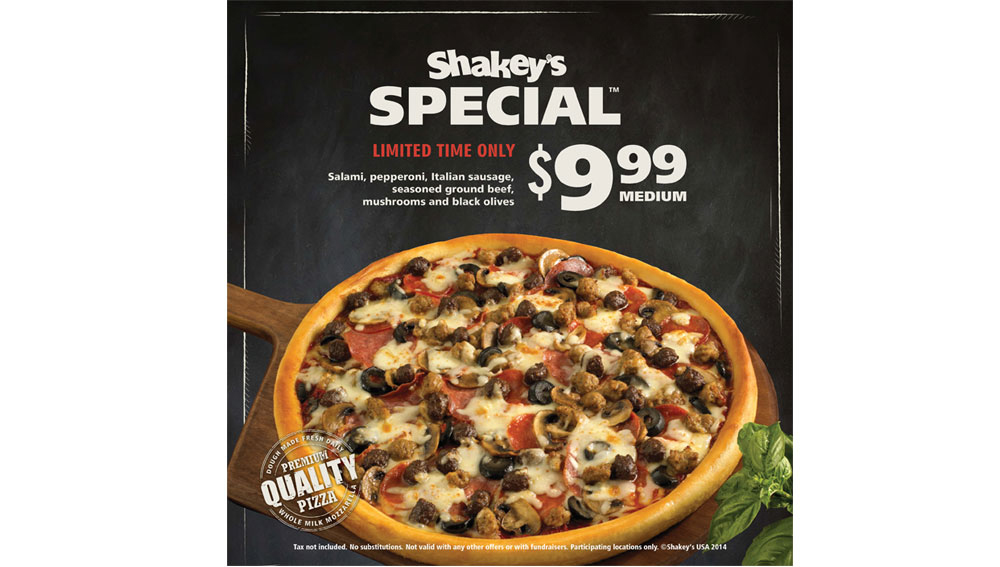 Shakey's Special - Point of Sale, exterior window cling