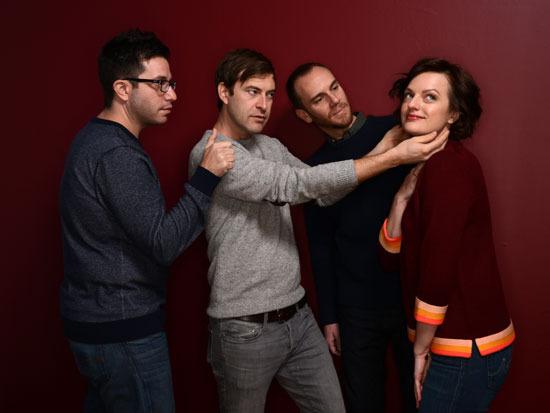 Filmmaker Charlie McDowell, Mark Duplass, filmmaker Justin Lader, and Elisabeth Moss at the 2014 Sundance Film Festival.