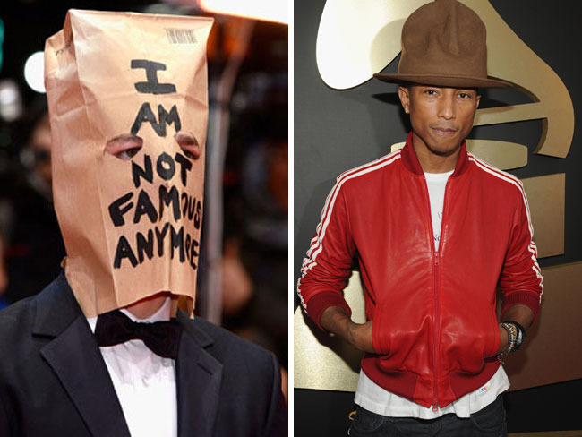 """Shia LaBeouf's outfit at the Berlin Film Festival included a paper bag that read """"I Am Not Famous Anymore,"""" while Pharrell donned an interesting hat at the Grammy Awards"""