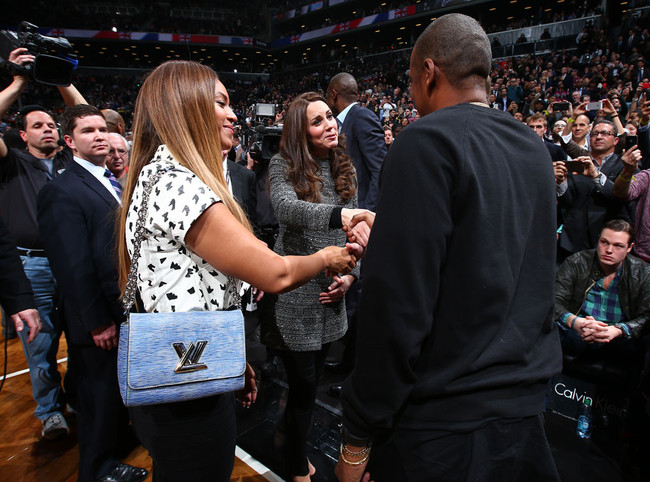 During a Nets game in Brooklyn, Duchess Kate and Prince William shook hands with Beyonce and Jay-Z