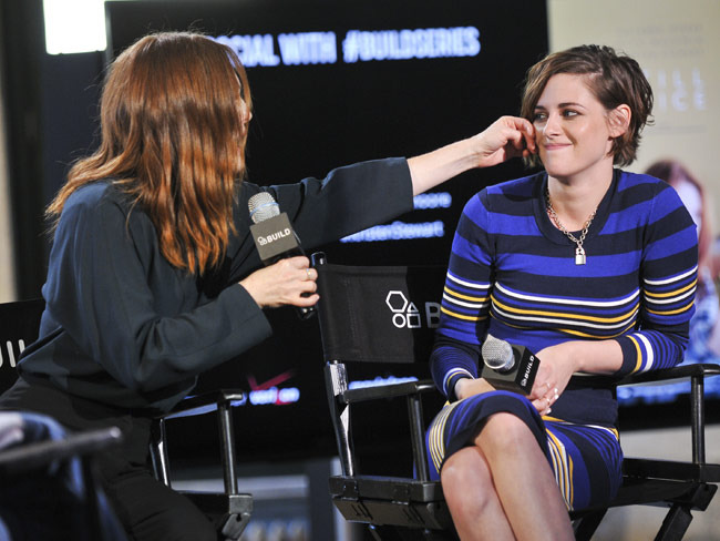 """During an AOL Build speaker conference, Moore discusses a scene in which she """"wipes a tear off"""" of Stewart's cheek."""