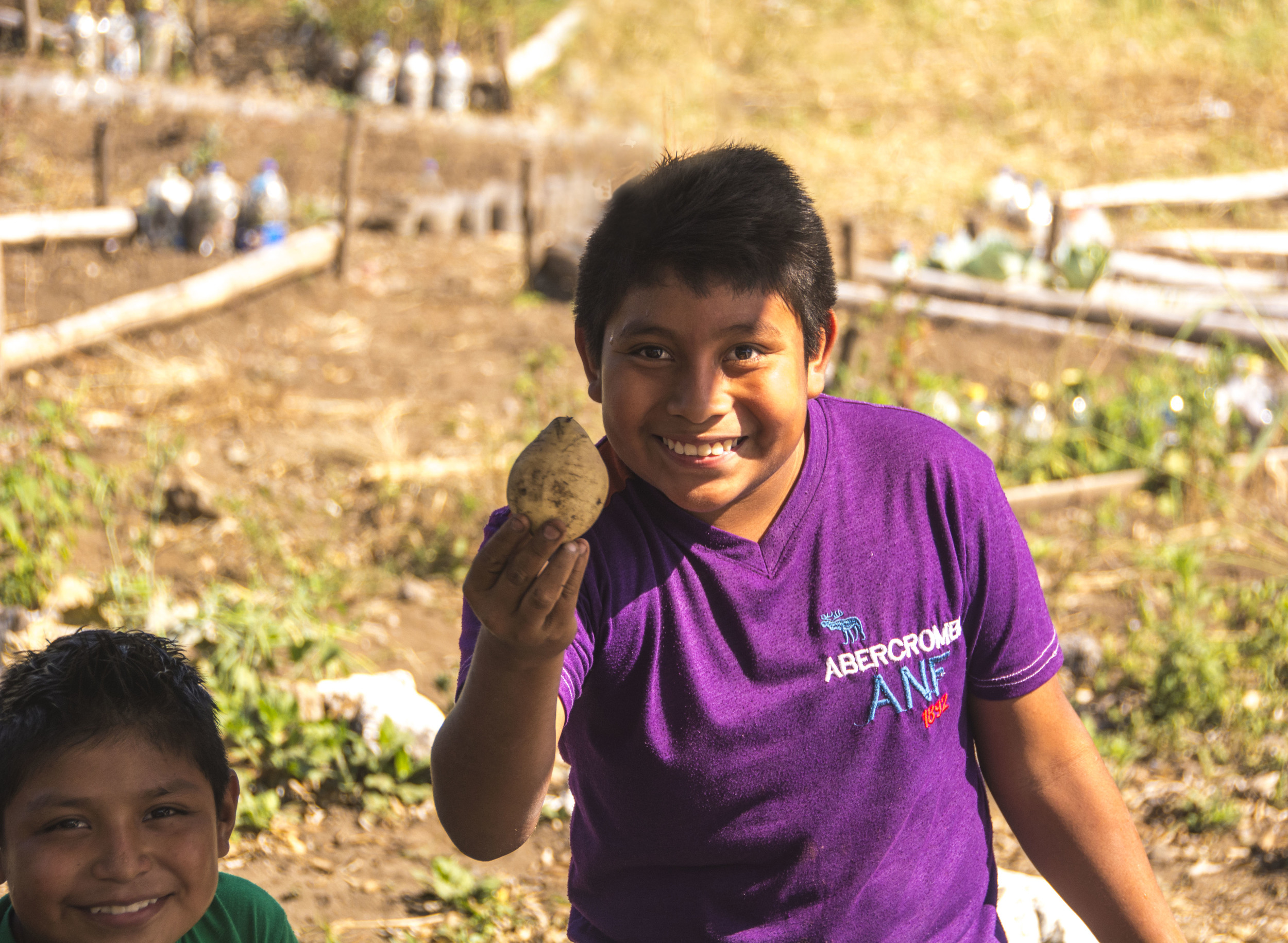 Student with Sweet Potato. In the garden at Nueva Vida School, San Lucas Toliman, Guatemala.
