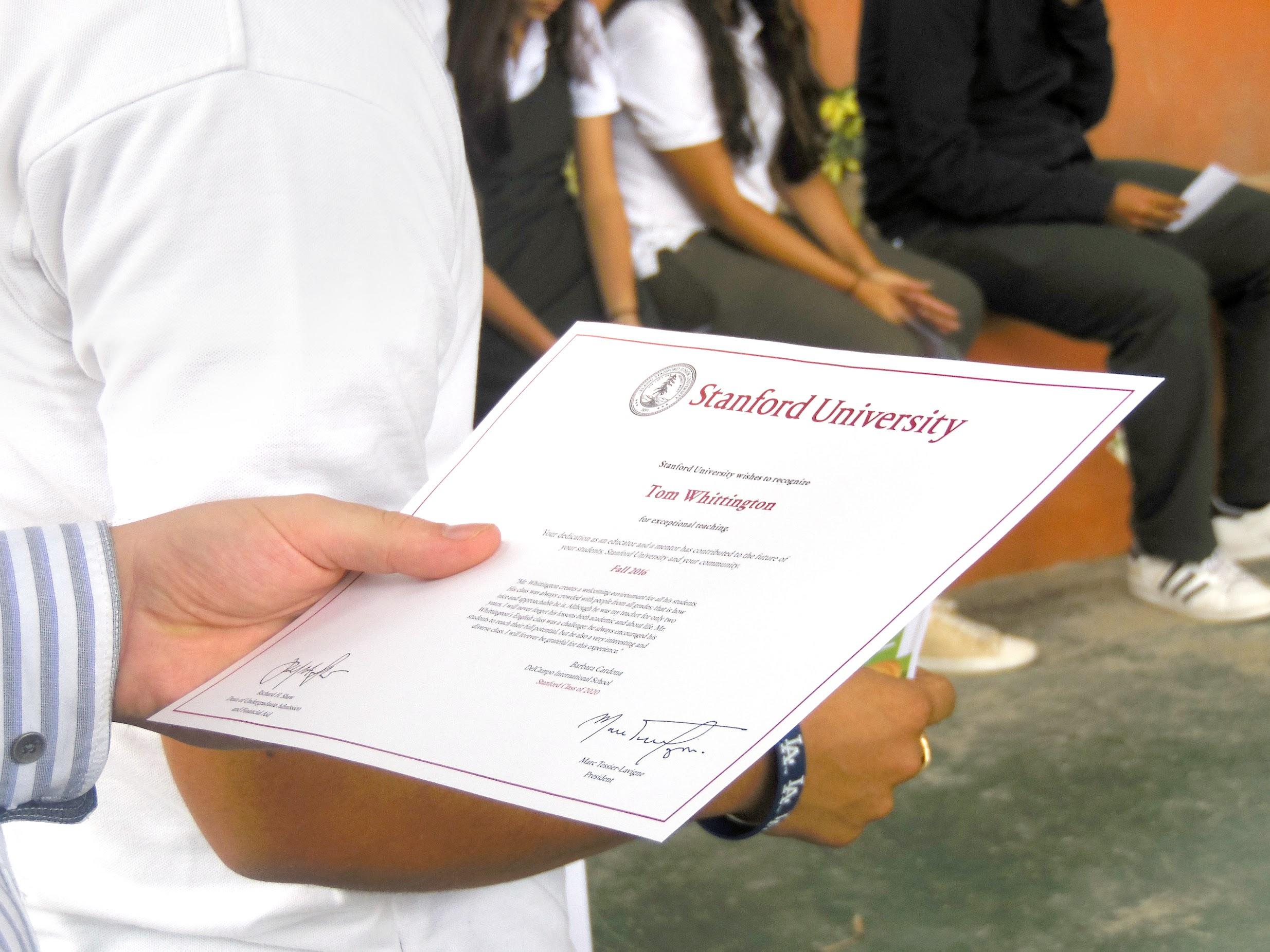 DelCampo International School Stanford University Diploma