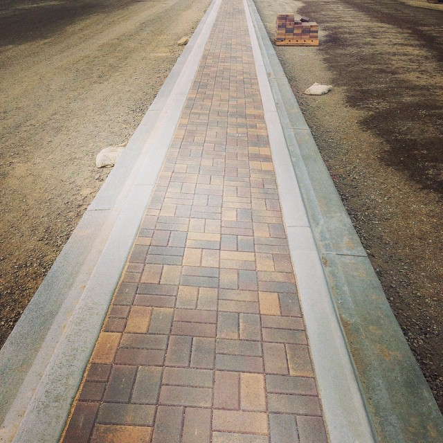 Pavers in the median of the future Armstrong and Warner in Tustin.