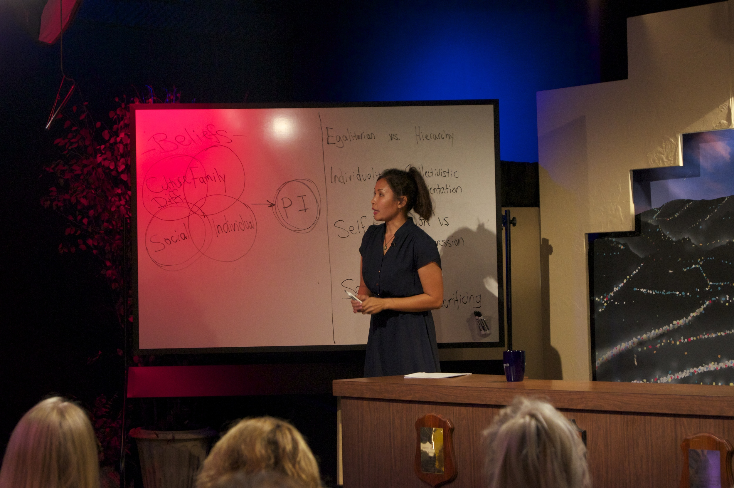 Maleya presenting to resident hypnotherapy students at Hypnosis Motivational Institute. To watch, click below.