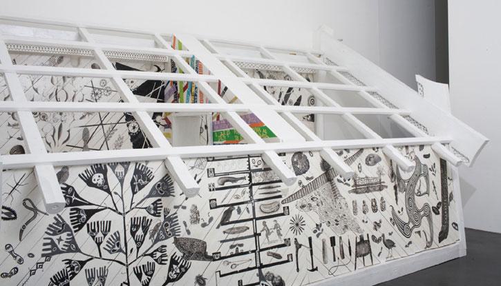 Rangi Kipa,  Radiare , 2007, wood, Corian, autopaint.