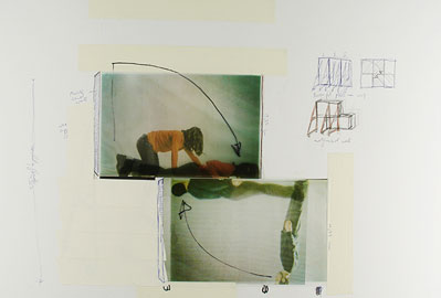 Peter Welz & William Forsythe,  Studies for The Fall , 2003-04, photographs, drawing and collage on paper.