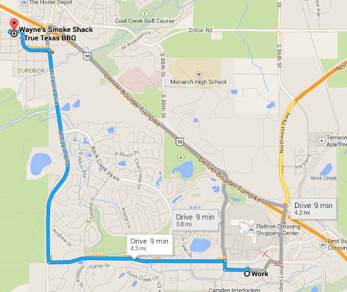 Map to Wayne's