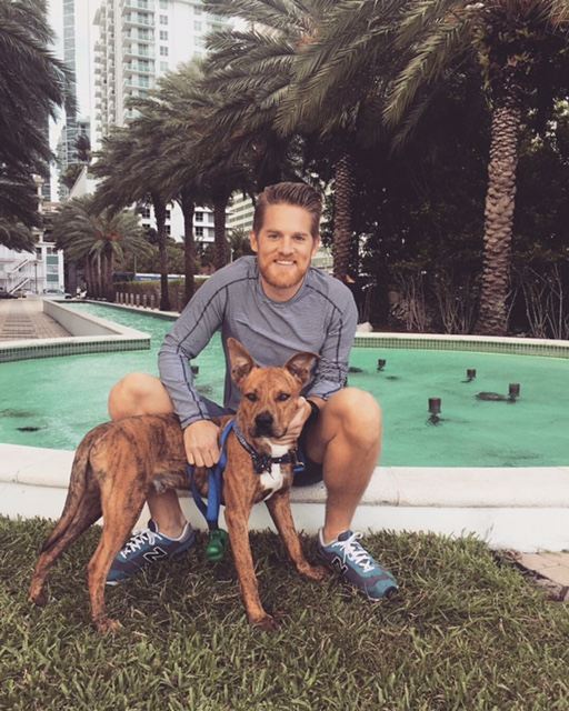 Lindsey with his dog Tonks - in Miami, Florida.