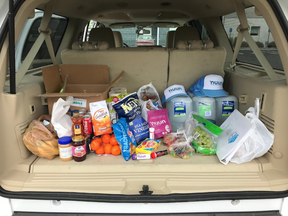Key items here: Goldfish, nuun, & toilet paper.....but mostly toilet paper.