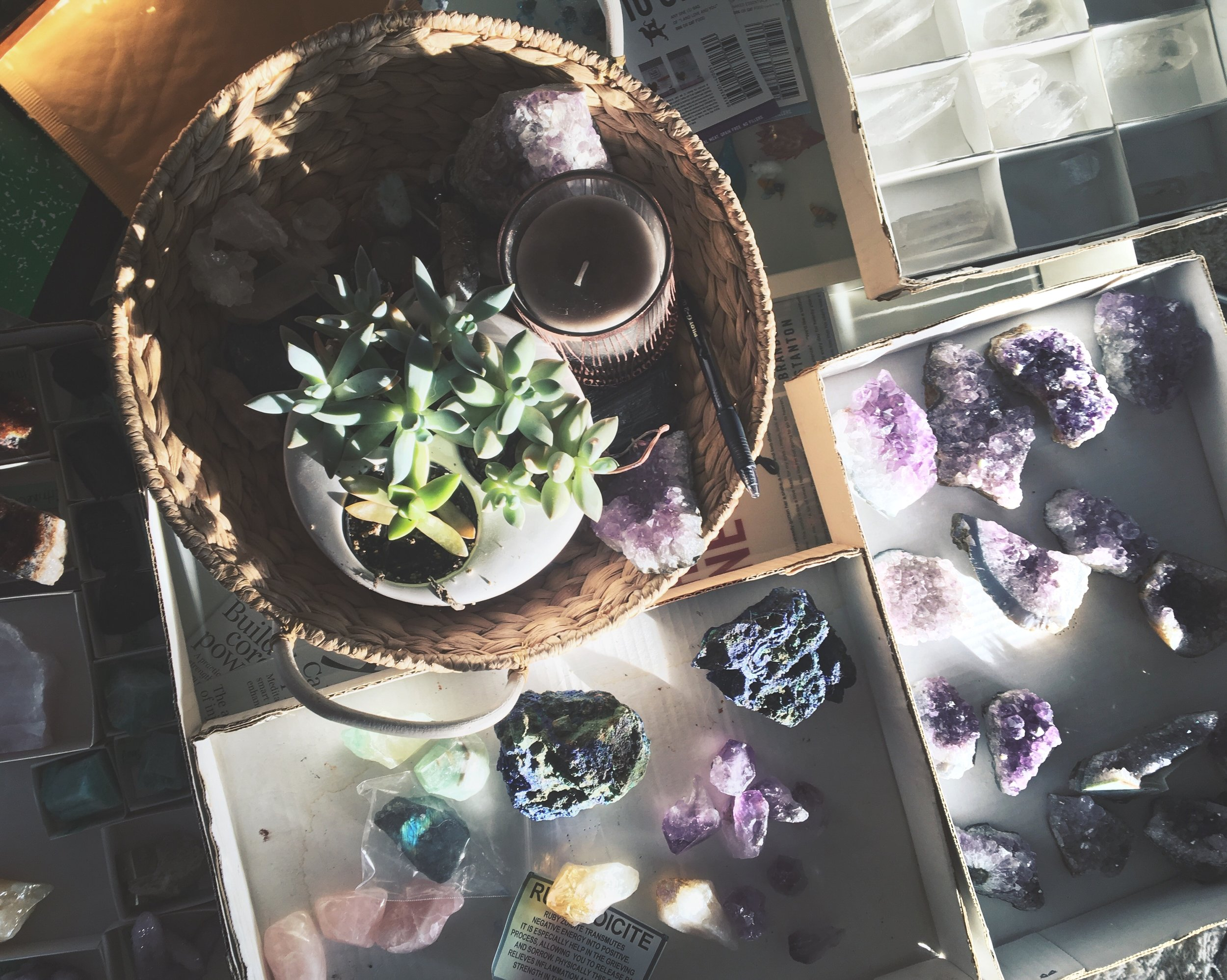 Crystals and succulents.JPG