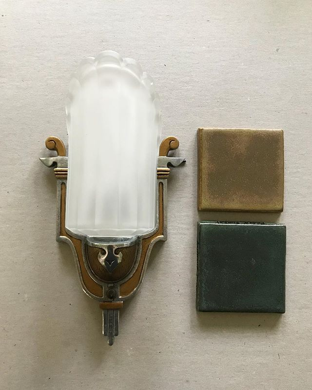 The vintage wall sconces just arrived for or Hollywood Heights fireplace. We're pretty jazzed with this light/tile combo ✨
