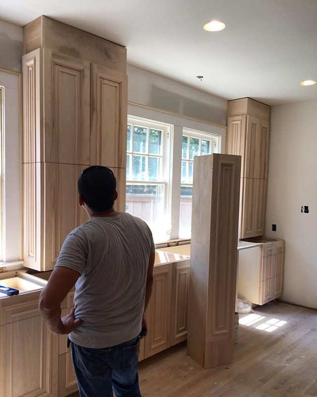 We've been waiting a long time for this install! Swiss Ave custom cabinetry going in today 😍