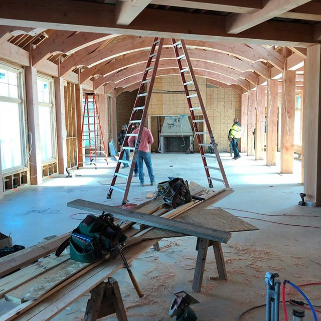 Framing well underway at our client's dream home.  Amazing beam work from the GGCain Co!