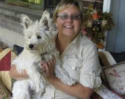 Carla and her quilting companion - the infamous Westie, Brody