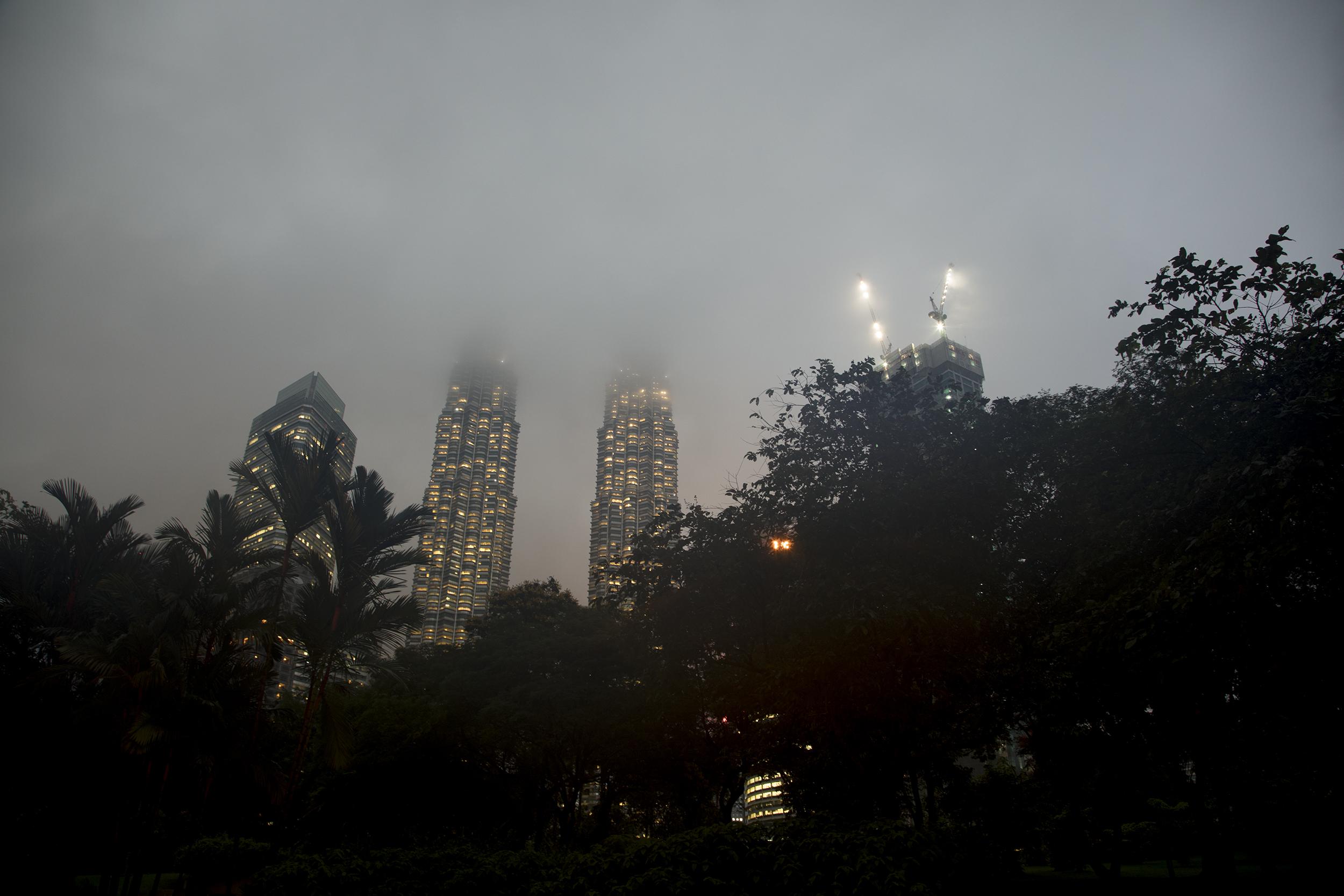 KL Petronas Towers in Fog, 2017