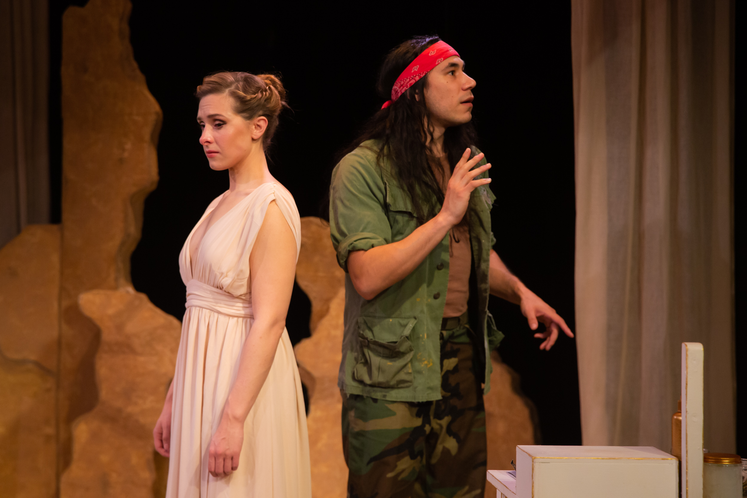 Theatre of Yugen presents  Helen  by Ellen McLaughlin. Helen (Adrian Deane, left) suffers the confusion and bewilderment of her husband Menelaus (Steven Flores, right). Directed by Shannon R. Davis. Photo by Devlin Shand, Click image to download