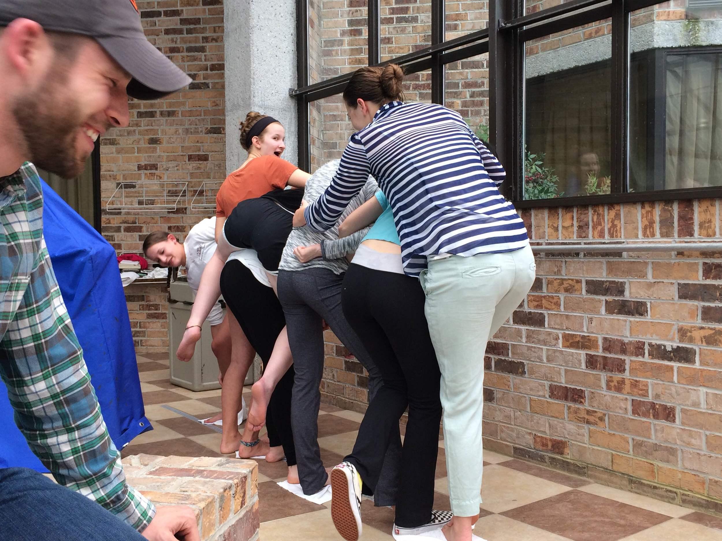 Teamwork activity on a rainy afternoon of Spring Break