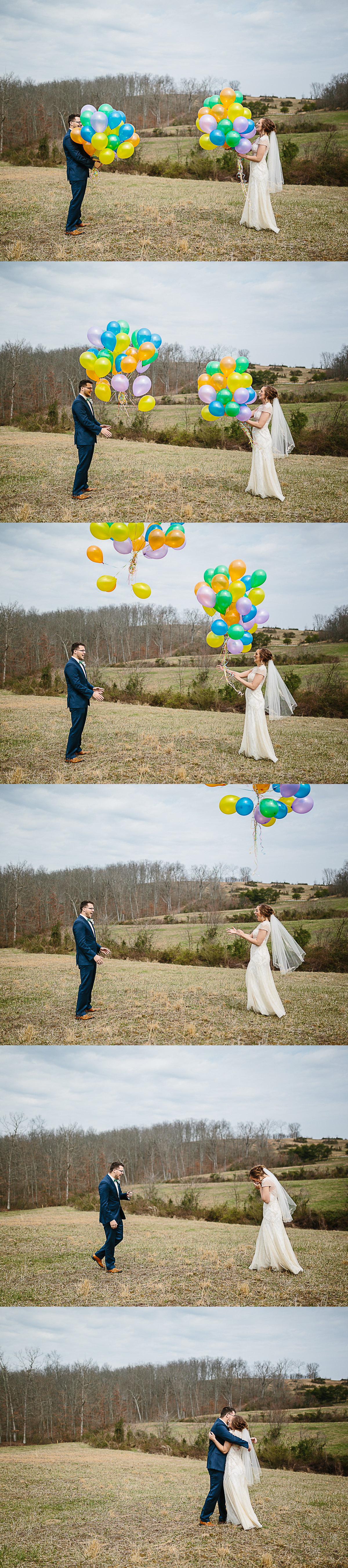 Adorable balloon release first look on wedding day by Corrie Mick Photography.jpg