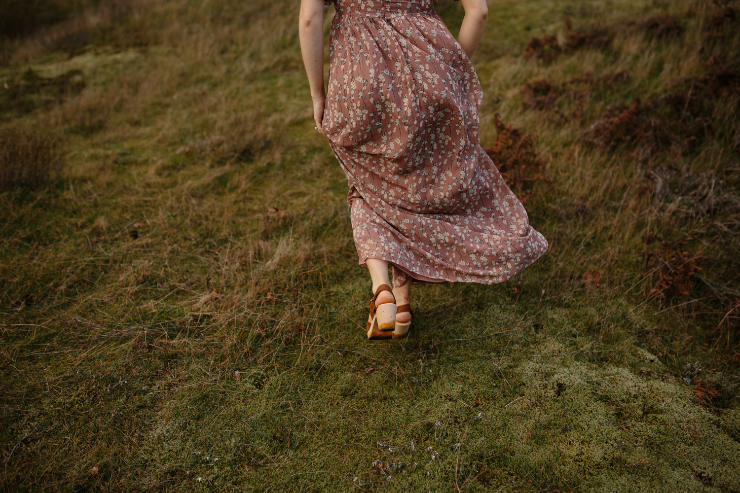 A Woman Walking on a Windy Day in the Columbia River Gorge, Oreg