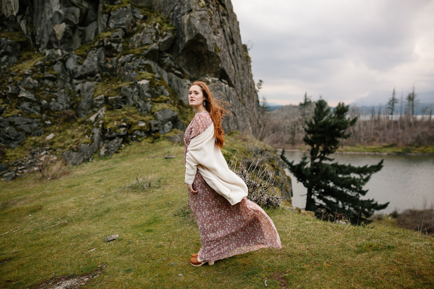 Columbia River Gorge - Portrait of a woman standing in the wind