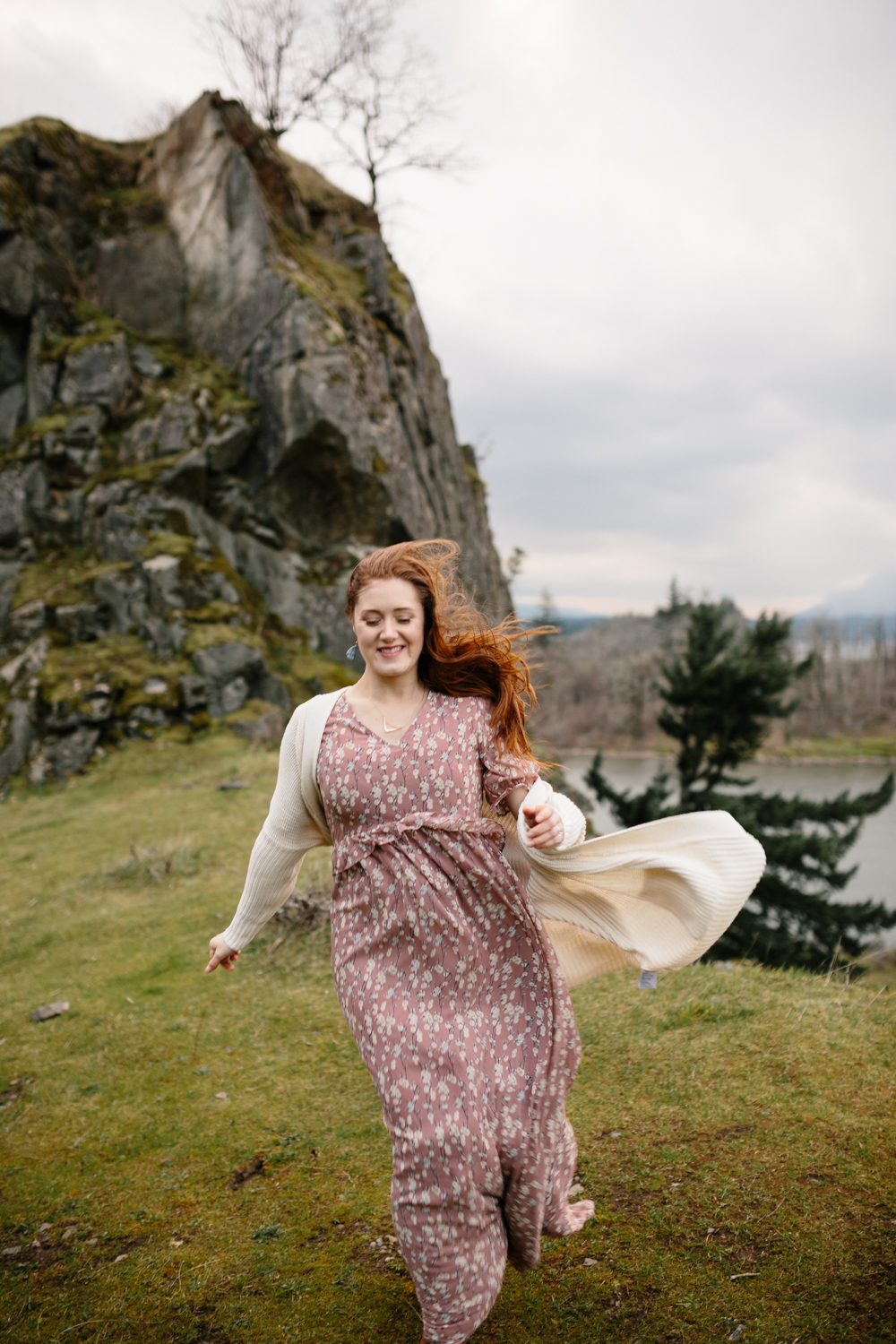 Columbia River Gorge - Portrait of a woman running in the wind