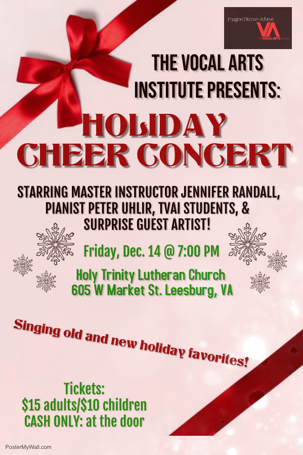 PLEASE JOIN US FOR OUR ANNUAL HOLIDAY CHEER CONCERT  FRIDAY, DECEMBER 14, 2018@ 7:00 P.M.  HOLY TRINITY LUTHERAN CHURCH  TICKETS SOLD AT THE DOOR