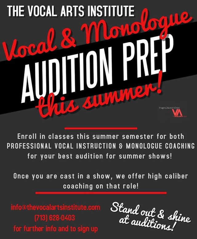 Prep all summer to get the roles you want in the Fall!  One thing that makes TVAI unique is Ms. Jens cringed coaching on top of singing coaching! Have your best audition yet!  Learn how to stand out and shine!  Sign up for summer now!