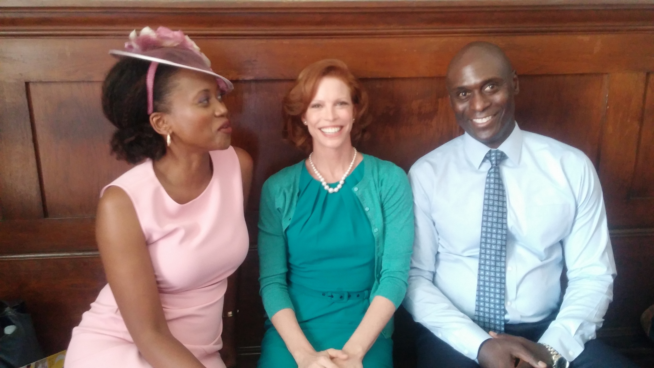 With Erika Alexander and Lance Reddick.  Their presence was MIghty and Gracious.     (My hair IS the same color as this bench??)