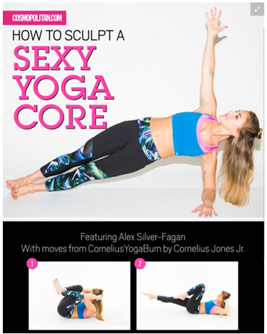 """How to Sculpt a Sexy Yoga Core"" article in Cosmopolitan featuring moves by Cornelius Jones Jr."