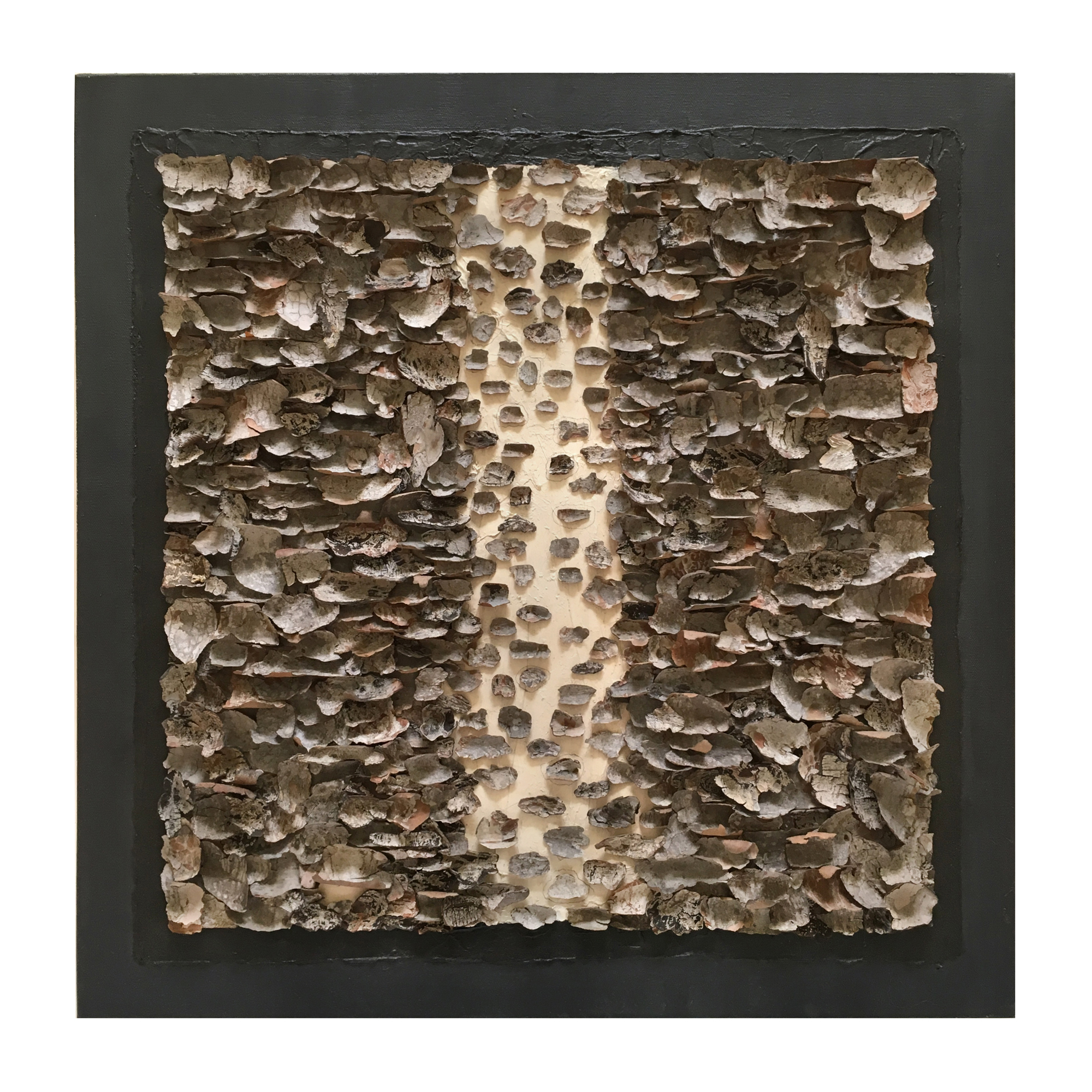 "Untitled  bark and arcylic on canvas 24"" 24"""